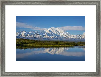 Scenic View Of Mt. Mckinley Reflecting Framed Print by Cathy Hart