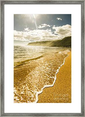 Scenic View On Harbor In Sunlight Framed Print