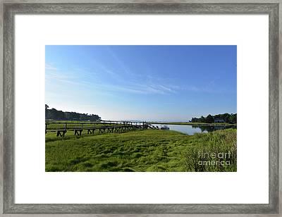 Scenic Views Of Duxbury Bay With Lush Green Marsh Grass Framed Print by DejaVu Designs