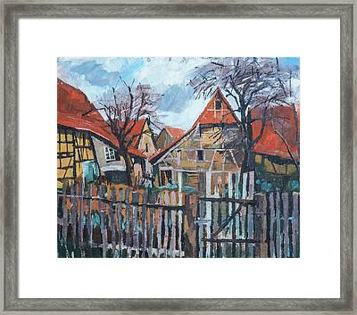 Scheunen Am Ortsrand Lienzingen Framed Print by Martin Stankewitz