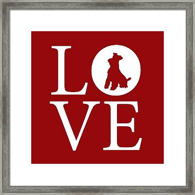 Schnauzer Love Red Framed Print by Nancy Ingersoll
