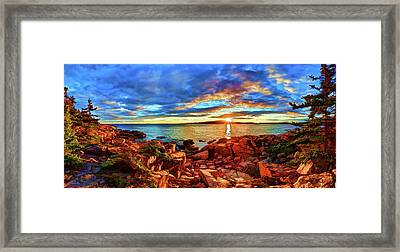 Schoodic Point Sunset Framed Print by ABeautifulSky Photography