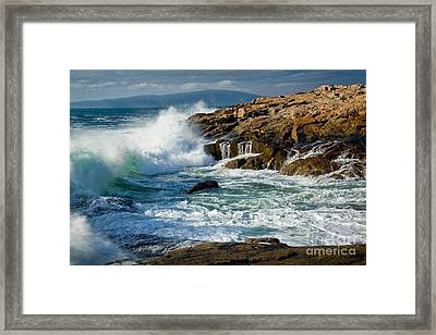 Schoodic Surf Framed Print by Susan Cole Kelly