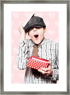 School Boy In Love Holding Valentines Day Present Framed Print