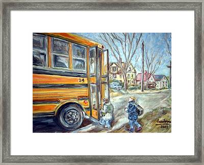 School Bus Framed Print by Joseph Sandora Jr