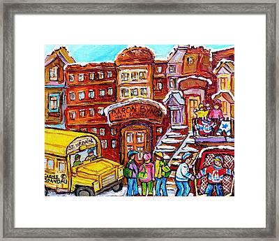 School Bus Rue St Urbain Baron Byng High Montreal 375 Hockey Art Colorful Street Scene Painting      Framed Print by Carole Spandau