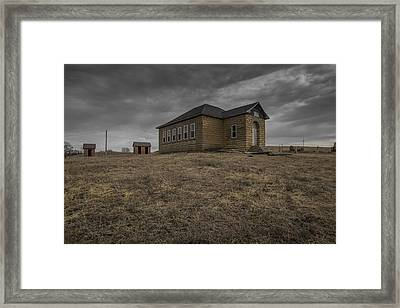School House And Red Brick Outhouses  Framed Print by Chris Harris
