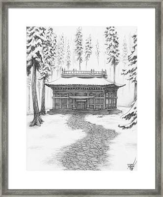 School In The Snow Framed Print