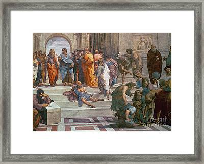 School Of Athens, Detail From Right Hand Side Showing Diogenes On The Steps And Euclid Framed Print by Raphael