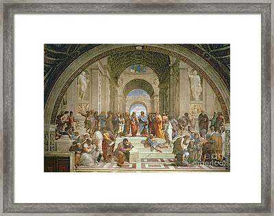 School Of Athens From The Stanza Della Segnatura Framed Print