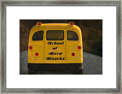 School Of Hard Knocks - Yellow School Bus Message Framed Print by Mitch Spence
