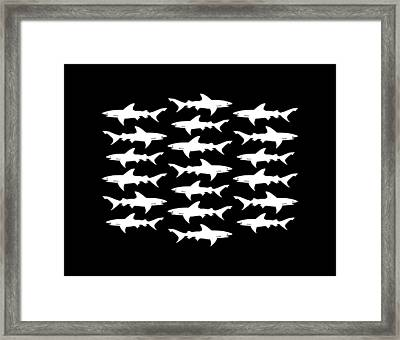 School Of Sharks Black And White Framed Print by Antique Images