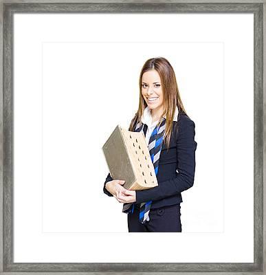 School Teacher Smiling Holding Education Textbook  Framed Print by Jorgo Photography - Wall Art Gallery