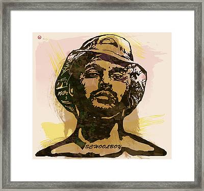 Schoolboy Q Pop Stylised Art Sketch Poster Framed Print by Kim Wang