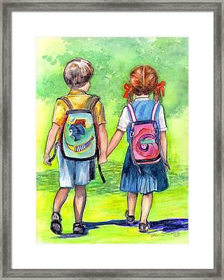 Schooldays Framed Print by Val Stokes