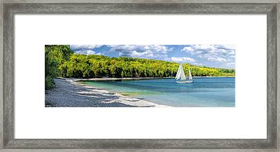 Schoolhouse Beach Panorama On Washington Island Door County Framed Print by Christopher Arndt