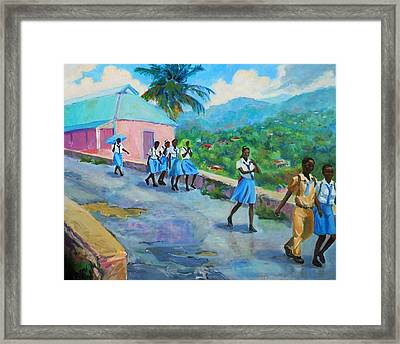 School's Out In Jamaica Framed Print by Margaret  Plumb