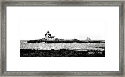 Schooner At Cuckolds Light Framed Print