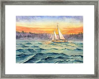 Schooner At Seneca Lake Framed Print by Melly Terpening