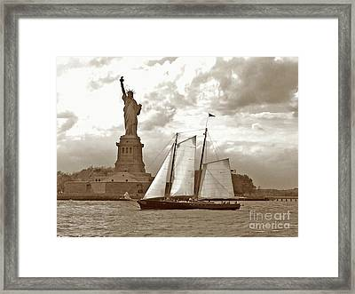 Schooner At Statue Of Liberty Twurl Framed Print by Tom Wurl