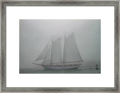 Schooner In Fog Framed Print