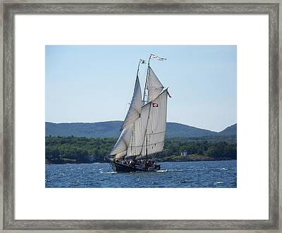 Schooner Lewis R French Sailing Along Framed Print by Joseph Rennie