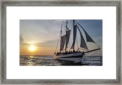 Schooner Pride Sunset Charleston South Carolina Framed Print by Dustin K Ryan