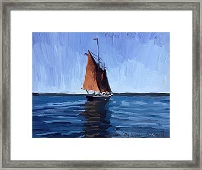 Schooner Roseway In Gloucester Harbor Framed Print by Melissa Abbott