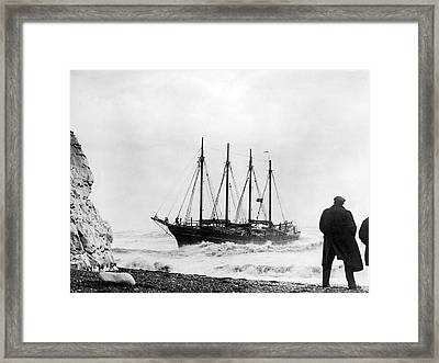 Schooner Shipwreck Framed Print by Underwood Archives