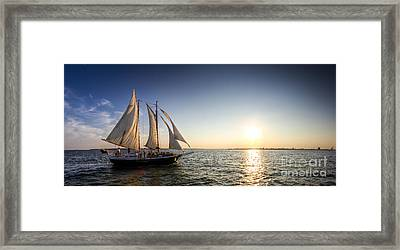 Schooner Welcome Sunset Charleston Sc Framed Print