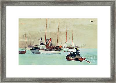 Schooners At Anchor In Key West Framed Print by Winslow Homer
