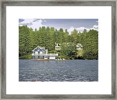 Framed Print featuring the painting Schultz Summer Home Muskoka by Kenneth M Kirsch