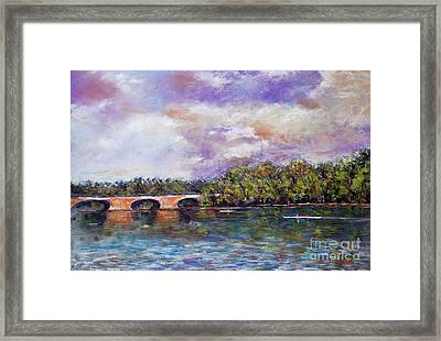 Schuylkill River Rowers Framed Print by Joyce A Guariglia