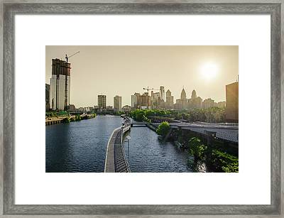 Framed Print featuring the photograph Schuylkill River Walk At Sunrise by Bill Cannon
