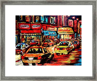 Schwartz's Deli At Night Framed Print by Carole Spandau