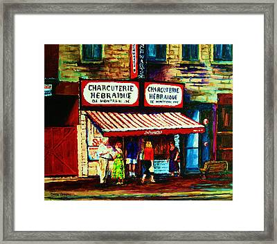 Schwartzs Famous Smoked Meat Framed Print by Carole Spandau