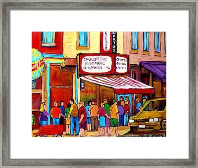 Schwartzs Hebrew Deli Montreal Streetscene Framed Print by Carole Spandau