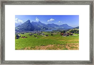 Schwyz And Zurich Canton View, Switzerland Framed Print by Elenarts - Elena Duvernay photo