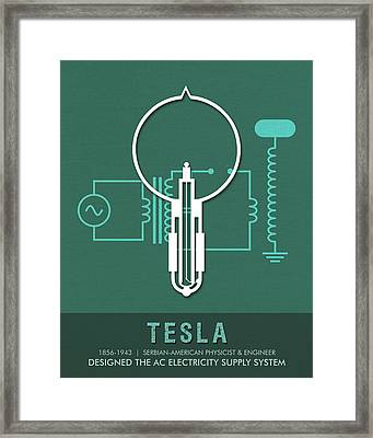 Science Posters - Nikola Tesla - Physicist, Engineer Framed Print