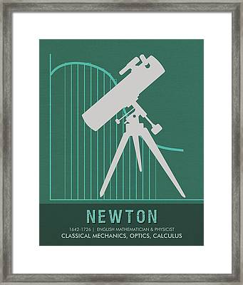 Science Posters - Sir Isaac Newton - Physicist, Mathematician, Astronomer Framed Print