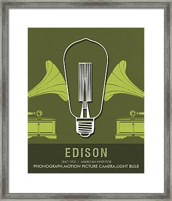 Science Posters - Thomas Alva Edison - Inventor Framed Print