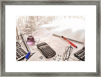 Scientific Calculator And Chemistry Formulas Notes Framed Print by Olivier Le Queinec