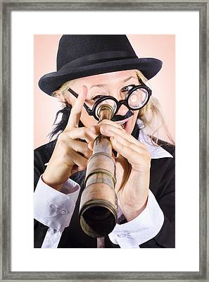 Scientist Searching For A Cure With Telecope Framed Print
