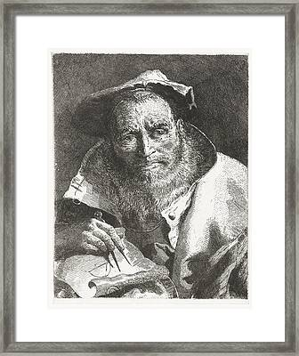 Scientist With Beret On Head And Compass In Hand Giovanni Domenico Tiepolo After Giovanni Battista Framed Print
