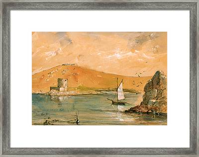 Scilly Islands Watercolor Painting Framed Print