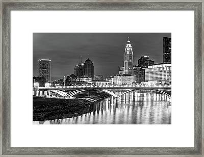Scioto River Reflections Of Columbus Skyline  Black And White Framed Print by Gregory Ballos