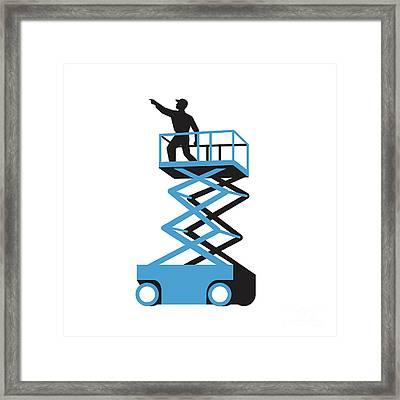 Scissor Lift Worker Pointing Retro Framed Print by Aloysius Patrimonio