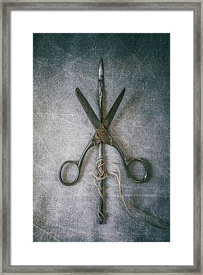 Scissors And Needle Framed Print by Carlos Caetano