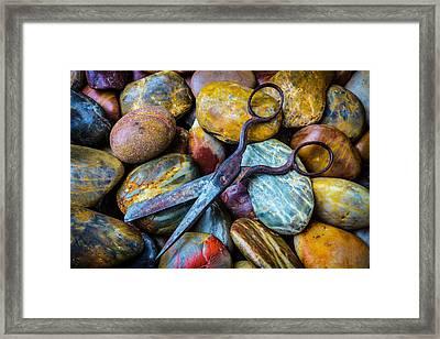 Scissors And Rocks Framed Print