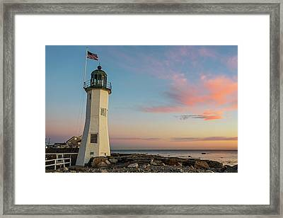 Scituate Lighthouse Scituate Massachusetts South Shore At Sunrise Framed Print